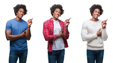 Photo pour Collage de jeunes afro-américains séduisants sur fond isolé avec un grand sourire sur le visage, pointant la main et le doigt vers le côté en regardant la caméra . - image libre de droit