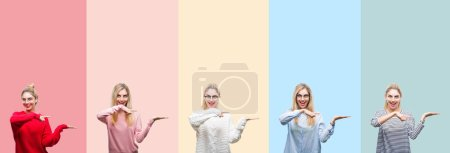 Collage of young beautiful blonde woman over vivid colorful vintage isolated background amazed and smiling to the camera while presenting with hand and pointing with finger.