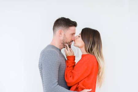 Photo for Beautiful young couple in love, kissing and hugging each other. Romantic relationship. - Royalty Free Image