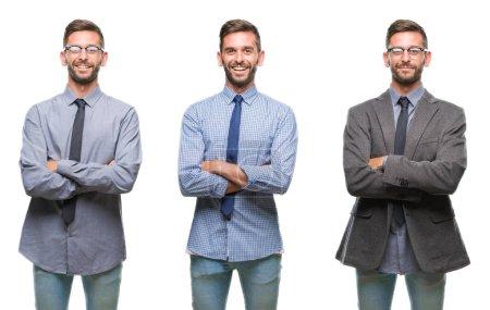Photo pour Collage de jeune homme hispanique d'affaires sur fond isolé visage heureux souriant avec les bras croisés regardant la caméra. Personne positive . - image libre de droit