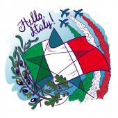 Symbols of Italy- Frecce tricolori tricolour arrows in the sky olive branch oak flag and star Vector illustration
