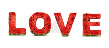 Photo for Stylized Love Text by Watermelon Letters isolated on white Background. Love and Romantic Concept. 3D Rendering - Royalty Free Image
