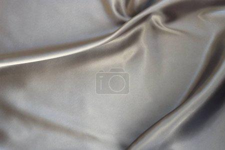 Photo pour Tissu satin soie texture silber couleur d'arrière-plan. Résumé historique de la vague de tissu de luxe. - image libre de droit