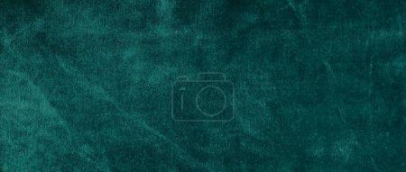 Photo pour Velours texture fond couleur verte bannière. luxe cher, tissu, matériel, chiffon. Copier l'espace . - image libre de droit