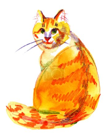 Photo for Watercolor cute red cat. Watercolor graphic for fabric, postcard, greeting card, book, poster, tee-shirt. Illustration isolation - Royalty Free Image