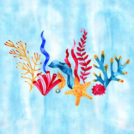 Photo for Underwater composition with coral, algae and fish. Watercolor hand drawn illustration isolated on white background. - Royalty Free Image