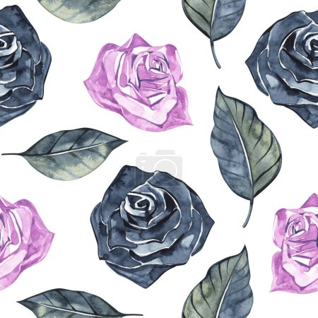 Photo pour Hand Drawn Roses, Mimicking Folk Embroidery Stitches, on Dark Blue Background Floral Seamless Pattern. - image libre de droit