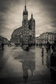KRAKOW, POLAND - MARCH 11, 2019: Black and white view of St. Mary Basilica in old city center in Krakow