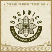 Vintage Organics All Natural Products Label Editable EPS10 vector illustration with clipping mask and transparency in retro woodcut style