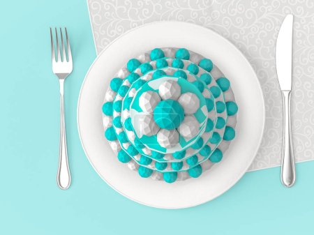 Different delicious cakes on the plate on colour background.