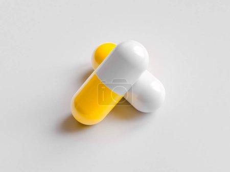 Photo pour Pilule de médecine pharmaceutique sur fond blanc. Concept de soins de santé. Illustration de rendu 3D . - image libre de droit