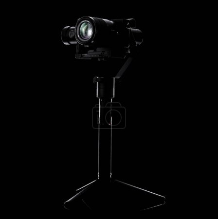 Photo for Steadicam and camera on black background. Equipment for the videographer. For shooting smooth & slow motion video. - Royalty Free Image