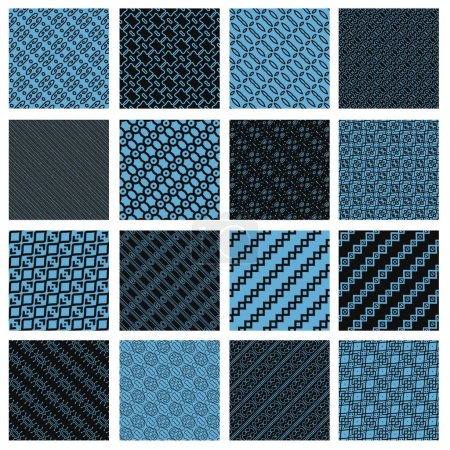 Blue and black tiling textures collection isolated on white