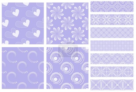purple and white tiling textures collection isolated on white