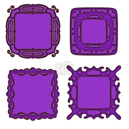Lilac ornamental frames or labels isolated on white background