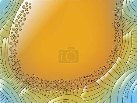 Foto de Fondo naranja con líneas y círculos - Imagen libre de derechos