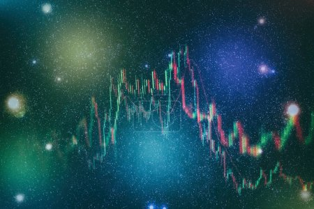 Photo pour Données sur un moniteur qui inclut de Market Analyze. Diagrammes à barres, diagrammes, chiffres financiers. Graphique Forex . - image libre de droit