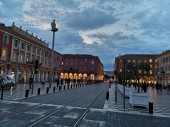 NICE, FRANCE - AUGUST 16, 2018: Place Massena of Nice in the evening. Built in the first half of the 19th century, Place Massena of Nice is generally deemed the most impressive square in the historical district of the city.
