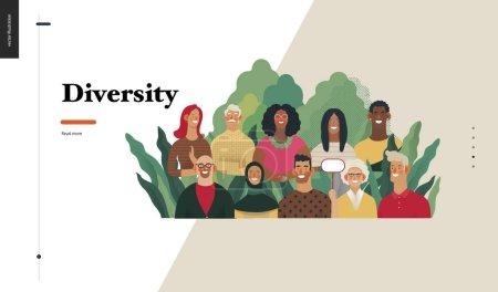 Illustration pour Technologie 2 - Diversité - concept moderne de vecteur plat illustration numérique de différentes personnes présentant la diversité de l'équipe de la personne dans l'entreprise. Modèle de conception de page Web d'atterrissage créatif - image libre de droit