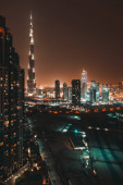Beautiful Night Cityscape of Dubai. Tallest Building in the World. City Night Lights. Famous Touristic Place. United Arab Emirates.
