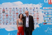 Giffoni Valle Piana, Sa, Italy - July 25, 2018 : Lodovica Comello and Ernesto Caffo at Giffoni Film Festival 2018 - on July 25, 2018 in Giffoni Valle Piana, Italy