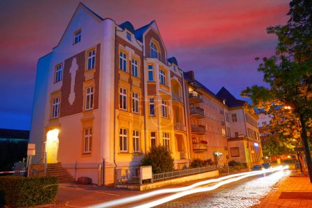 Nordhausen city at night in Thuringia of Germany