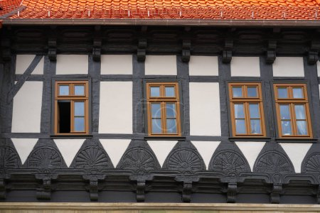 Wernigerode facades in Harz Germany at Saxony Anhalt