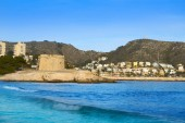 Moraira Castle and skyline in Teulada of Alicante province of Spain