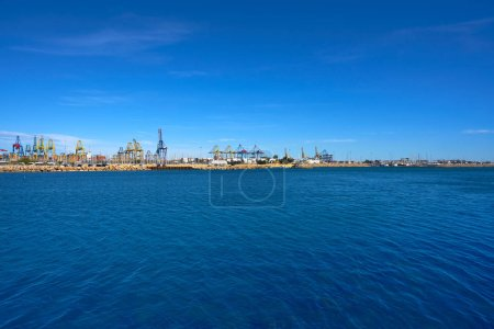 Valencia port view from Pinedo beach at Mediterranean sea of Spain