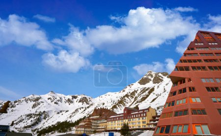 Photo for Astun ski area in Huesca on Pyrenees at Spain - Royalty Free Image