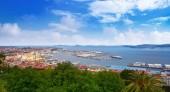 Vigo skyline and port in Galicia of Spain