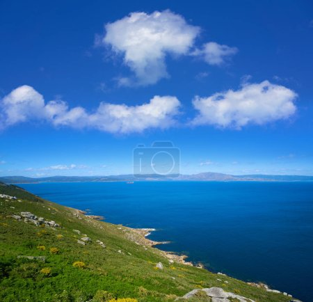 Aerial view of Finisterre end of Saint James Way in Galicia Spain