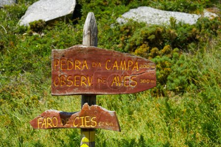 Islas Cies islands lighthouse Faro Cies sign in wood  Vigo of Galicia
