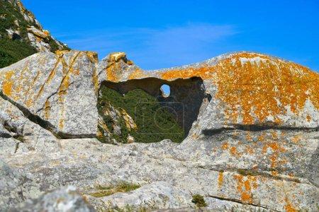 Pedra da Campa stone hole in Islas Cies islands at Vigo Spain