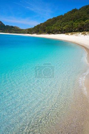 Praia de Rodas beach in islas Cies island in Vigo of Spain