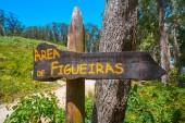 Figueiras nudist beach road sign in Islas Cies island of Vigo Spain