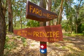 Faro Peito road sign to Lighthouse in Islas Cies islands of Vigo Spain