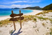 Praia de Rodas beach sign in islas Cies island in Vigo at Spain