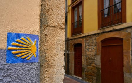 Camino de Santiago sign way of Saint James in Ribadesella Asturias of Spain