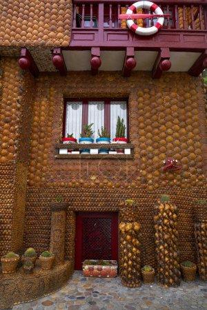 Tazones shells facade house of Asturias in Spain
