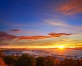 Vigo skyline and port sunset in Galicia of Spain