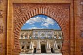 Alhambra arch Granada illustration with Carlos V facade photo mount