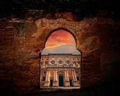 Alhambra arch Carlos V facade of Granada photo illustration