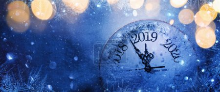 Photo for Happy New Years 2019. Winter Celebration With Dial Clock On Snow And Light - Royalty Free Image