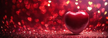 Photo for Valentines Day background. Abstract Red Heart Holiday Backdrop. Glittering Effect With Red Bokeh - Royalty Free Image