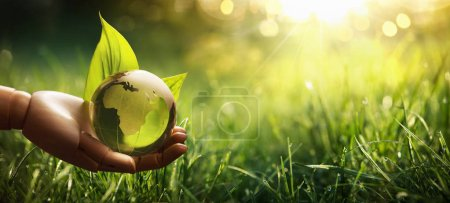 Photo for Environment Concept Green Planet in Your Hands. Save Earth - Royalty Free Image