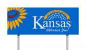 Vector illustration of the Welcome to Kansas sign