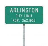 Vector illustration of the Arlington City Limit green road sign