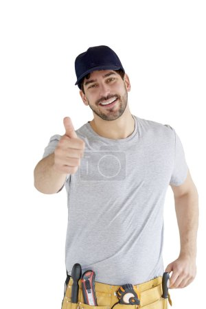 Portrait of young handyman giving tumbs up while standing at isolated white background with copy space.