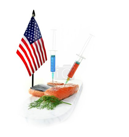Concept for current issues with US food exports to other countries refusing to accept them due to excessive chemical, bleaching and additives which breach international food regulations.